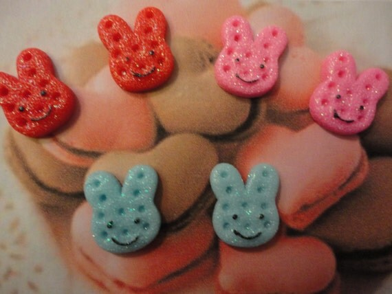 Colorful bunny cookie with sparkling powder sugar cabochons 6  pcs