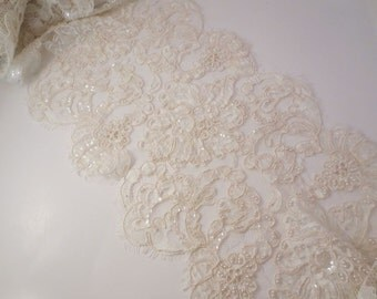 "Ivory Exotic Design French Beaded Alencon Lace Trim 10"" Wide--One  Yard"