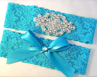 Turquoise Aqua Blue Stretch Lace Wedding Garter Set with Sparkling Crystals