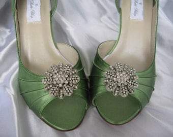 Wedding Shoes Apple Green Wedding Shoes with Vintage Style Rhinestone Flower - Additional 100 Colors To Pick From
