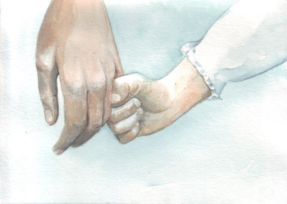 Original watercolor painting little girl hand holding for Watercolor paintings of hands