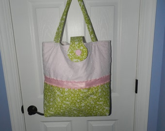 Pink and Green Floral Tote/Diaper Bag