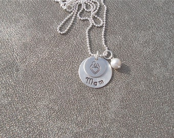 Personalized Mom or Nana Grandma Sterling Silver Charm Necklace Mom with Child and Swarovski Crystal Birthstone-Gifts for Her - Mother's Day