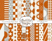 Sports Team Colors Digital Paper Pack  - Personal and Commercial Use - Orange and Gray