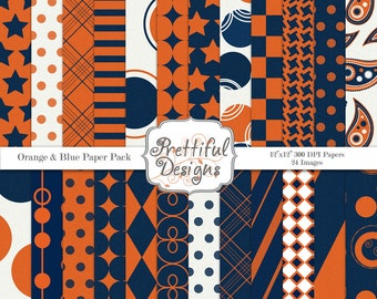 Digital Paper Pack  - Personal and Commercial Use - Sports Team Colors Orange and Blue