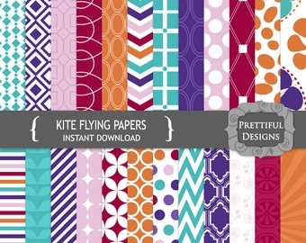 Digital Paper Pack Orange and Teal with Chevrons and Geometric Patterns - Kite Flying