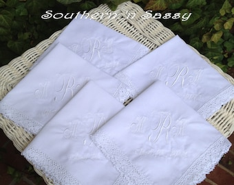 Wedding Party Set Of 5 Custom Embroidery Wedding Handkerchief