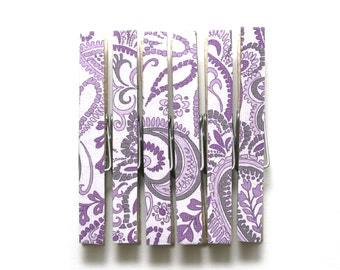 Purple paisley clothespins