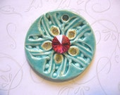 The Unusual - Dark Aqua Spring Flower Ceramic Pendant