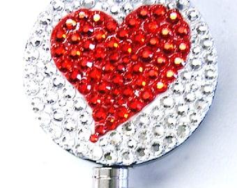 Red Heart ID badge reel