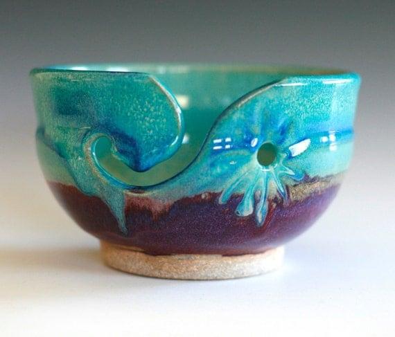 Yarn bowl knitting bowl handmade ceramic yarn bowl by for Ceramic clay ideas