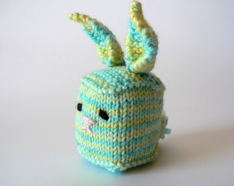 SALE Handknit Cuddly Cube Toy Bunny-Blue&Yellow