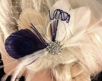 Bridal Feather Hair Clip, Bridal Fascinator, Feather Fascinator, Fascinator, Wedding Veil, Bridal Veil, Royal Purple and Ivory