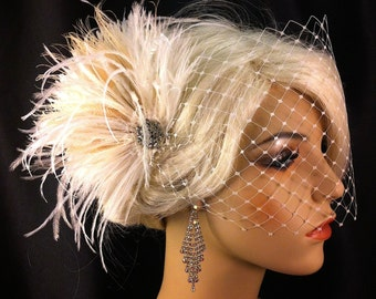 Wedding Bridal Hair Clip, Bridal Fascinator, Feather Fascinator , Wedding Veil, English Net Veil, Bridal Headpiece, Speakeasy
