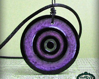 Purple to Green Bullseye Style RESIN and ACRYLIC OOAK Necklace