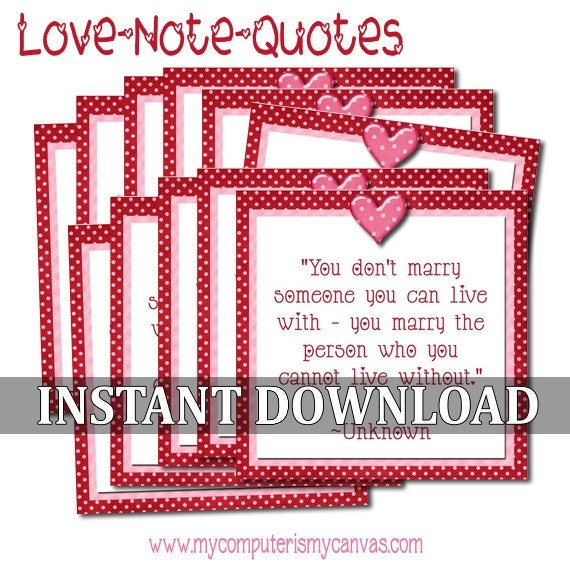 Printable Love Quotes Pleasing Valentine Love Note Quotes Printable Instant Download