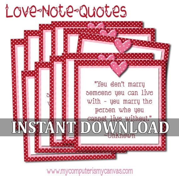Valentine Love Note Quotes   Printable INSTANT DOWNLOAD