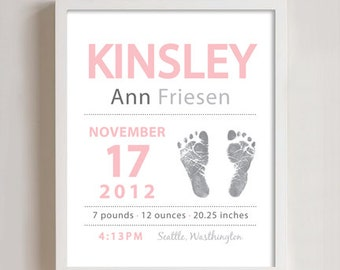 8 x 10 - Personalized Baby Birth Print - FOOTPRINT