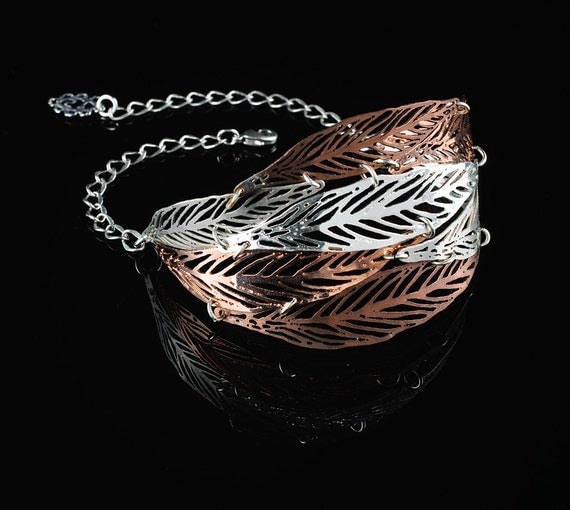 OOAK Bracelet Leaf metal lace plated in rose gold,copper and silver colors