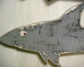 Gray Shark Sign Beach House Wall Art
