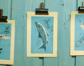 Vintage Blue Fish Book Illustration For the Fisherman - Great Lakes Trout or Char