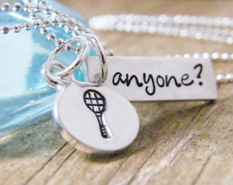 tennis anyone necklace handstamped tennis racquet sterling silver