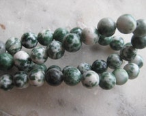 Tree Agate Beads: Small Round Green Polished Natural Semi-Precious Gemstone Beads, 6mm, 67 pcs.