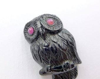 Black Tourmaline OWL. Ruby eYes. Jet Black LARGE. Hand Carved. 29x19 mm (TM506)