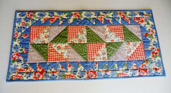 Quilted Table Runner Vintage Style Flowers Dots Bows Plaids