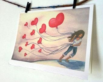 "Card Stationary Notecard Valentine Hearts I Miss You Art ""The LOVE We Keep"""