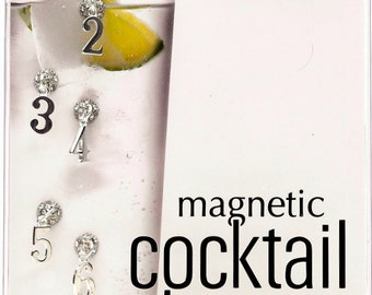 Magnetic Wine Charms for Stemless Glasses Numbers 1-8