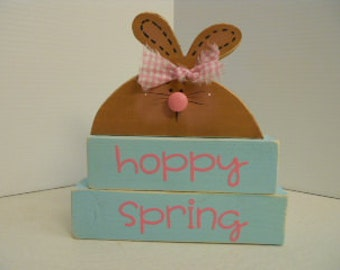 Spring, Easter Bunny Word Block Stacker