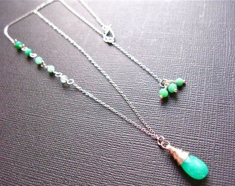 Ombre Chrysoprase Necklace in Sterling Silver, AAA Quality gemstones, Stunning Glowing Chrysoprase, Valentines Day, Wedding Jewelry