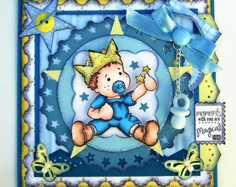 Baby Boy Scrapbooking Title Topper - Magnolia Edwin Papercraft Design - Premade Scrapbook / Card / Notebook Topper