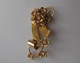 Vintage 40s 50s Rhinestone Brooch Floral Pattern 12KT G.F. Signed Barclay