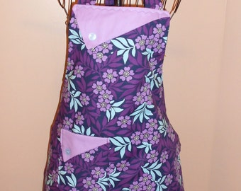 Purple and Blue Flowers Apron