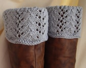 Boot Toppers - Light Grey Scalloped Feather & Lace