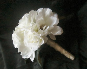 Magnolias and Roses Bridal Bouquet, White Magnolia Bouquet, Silk Wedding Flowers