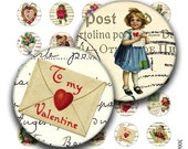 1 inch round images Printable Download Digital Collage Sheet 1 inch circle valentine day heart love cherub diy jewelry pendant