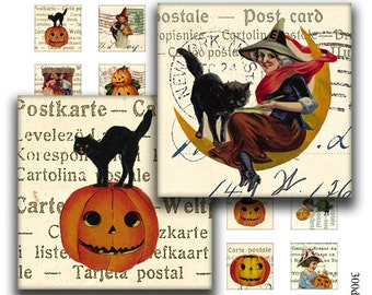 halloween 1 x 1 inch square images Printable Download Digital Collage Sheet diy jewelry pendant black cat pumpkin witch