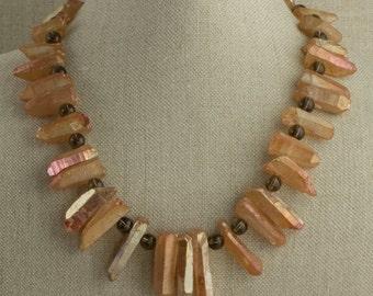 Quartz Stick Necklace Gold Aura Statement Irridescent