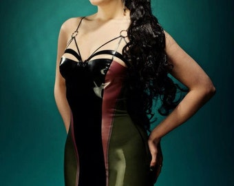 Latex Rubber Strap Detail Dress