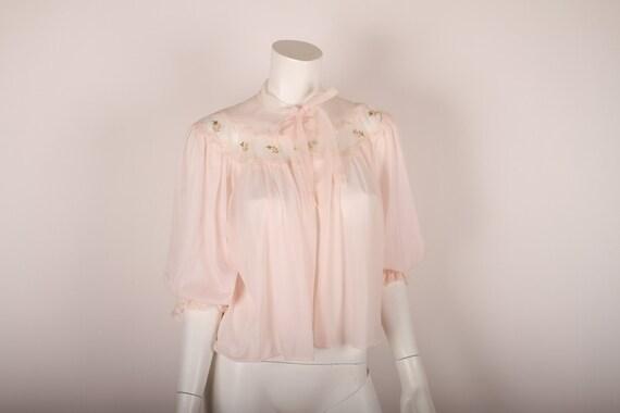 1950s Bed Jacket / Van Raalte /  Pink Nylon / Roses / S