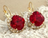 Ruby Earrings,Ruby Red Earrings,Swarovski Crystal Bridal Ruby Earrings,Bridesmaids Ruby Earrings,Bridal Ruby Earrings,Gift For Her