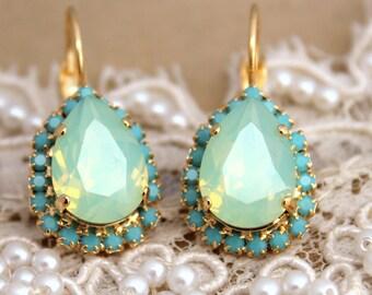 Mint Earrings,Swarovski Earrings,Swarovski Mint Opal Earrings,Bridal Earrings,Bridesmaids Earrings,Mint Opal Drop Earrings