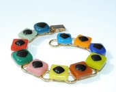 Rainbow Bracelet, Fused Glass Jewelry, Colorful, Bright, Youth, Kitsch, Kawaii (Item 20024-LB)