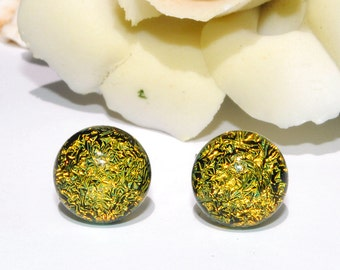 """Petite Dichroic Glass Stud Earrings, Fused Glass Jewelry, Surgical Steel Posts - Golden Yellow, Summer, 5/16"""", 8mm (Item 30555-E)"""