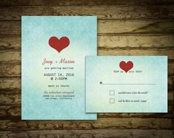 Printable Ombre Wedding Invitation Teal Ombre Invitation - Modern wedding - Red Heart Design - DIY Wedding - Custom Design DIY Printable