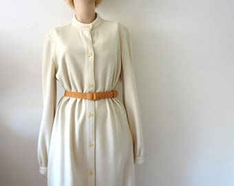 1970s Halston Dress - cream knit a-line shirt dress - designer vintage