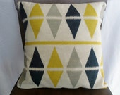 Yellow, Grey, and Navy Argyle/Ikat/Tribal Graphic 16x16 Pillow Cover